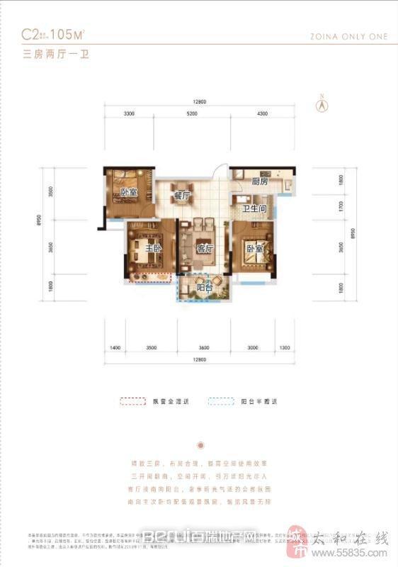 3室2厅1卫105㎡
