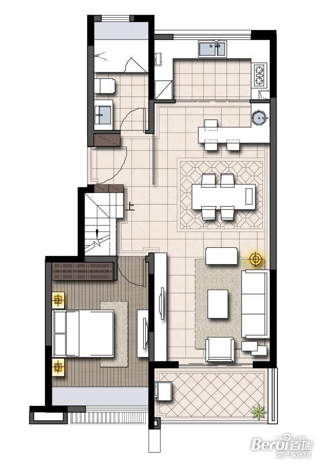 鹭山湖 乐活岛挑高户型(2-4楼)(下层)