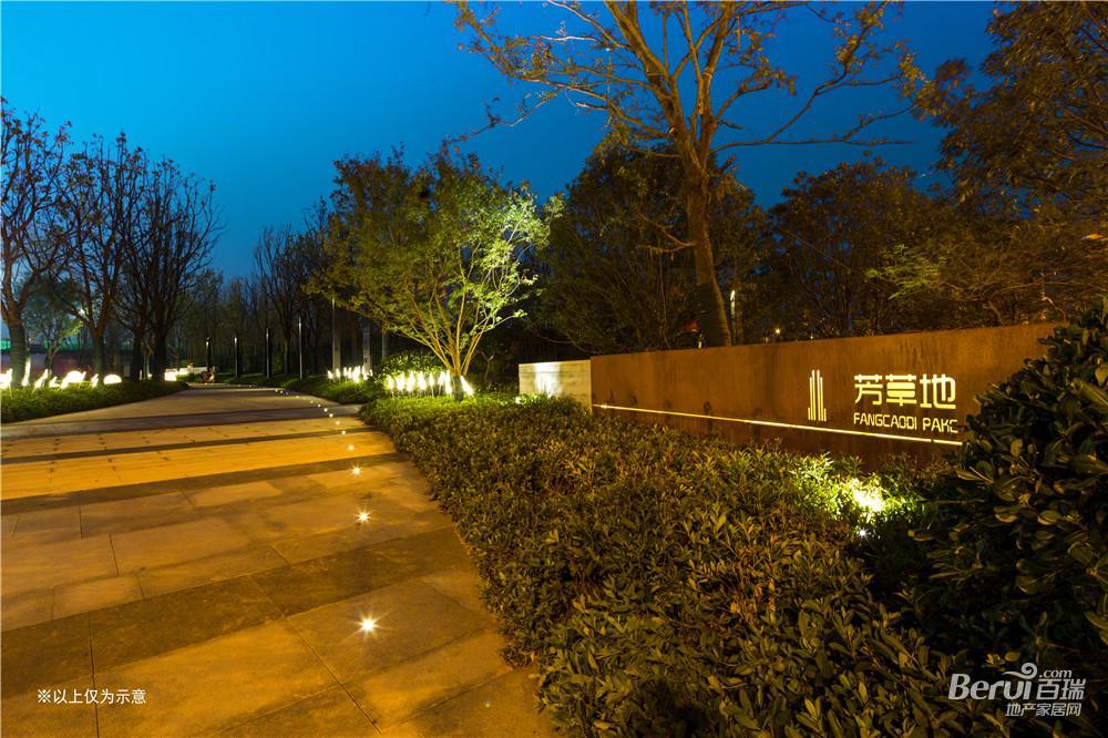 万科时代之光周边芳草地公园夜景图