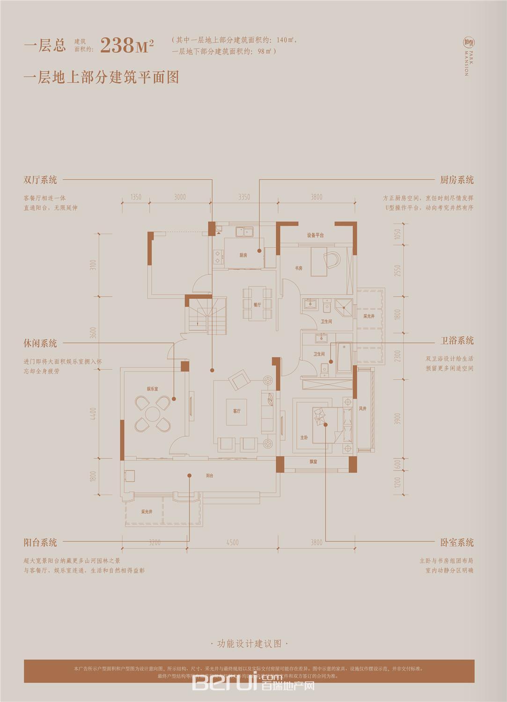 铂悦庐州府Y3洋房238㎡一层地上部分建筑