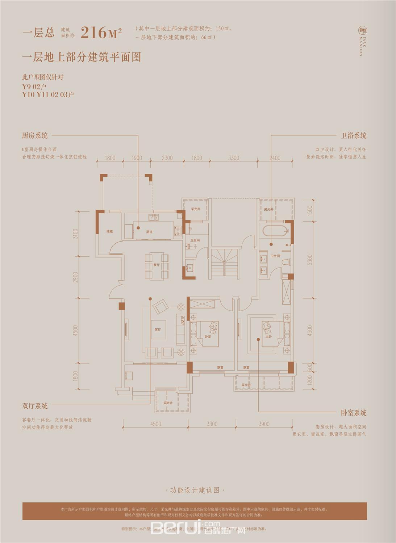 铂悦庐州府B1 B2 B3 B5别墅402㎡一层地上部分建筑