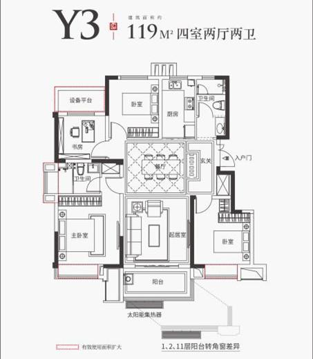 金科海昱东方Y3户型119㎡