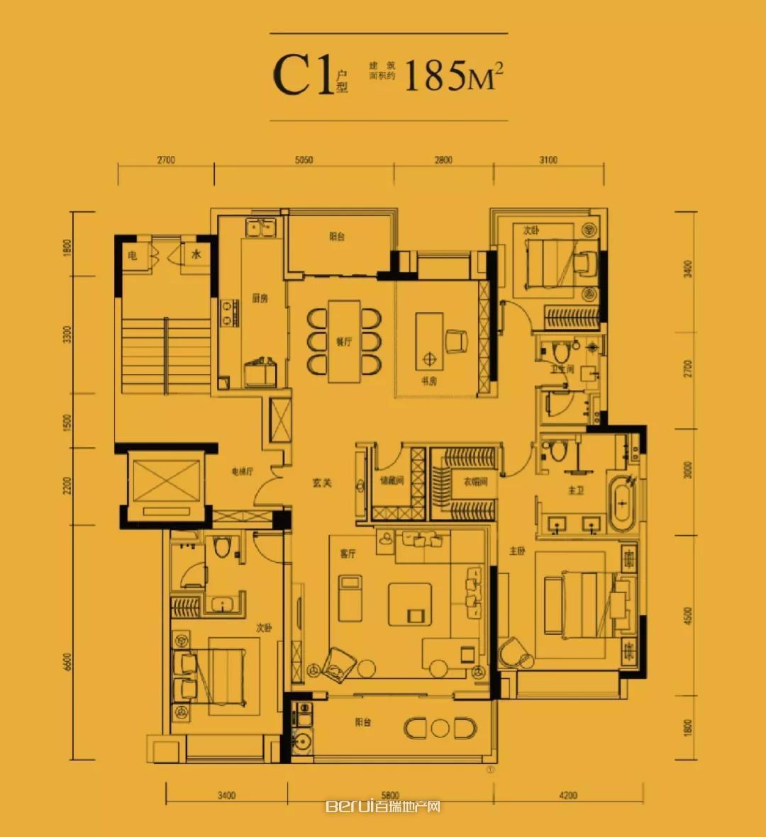 中国府C1-185㎡户型图