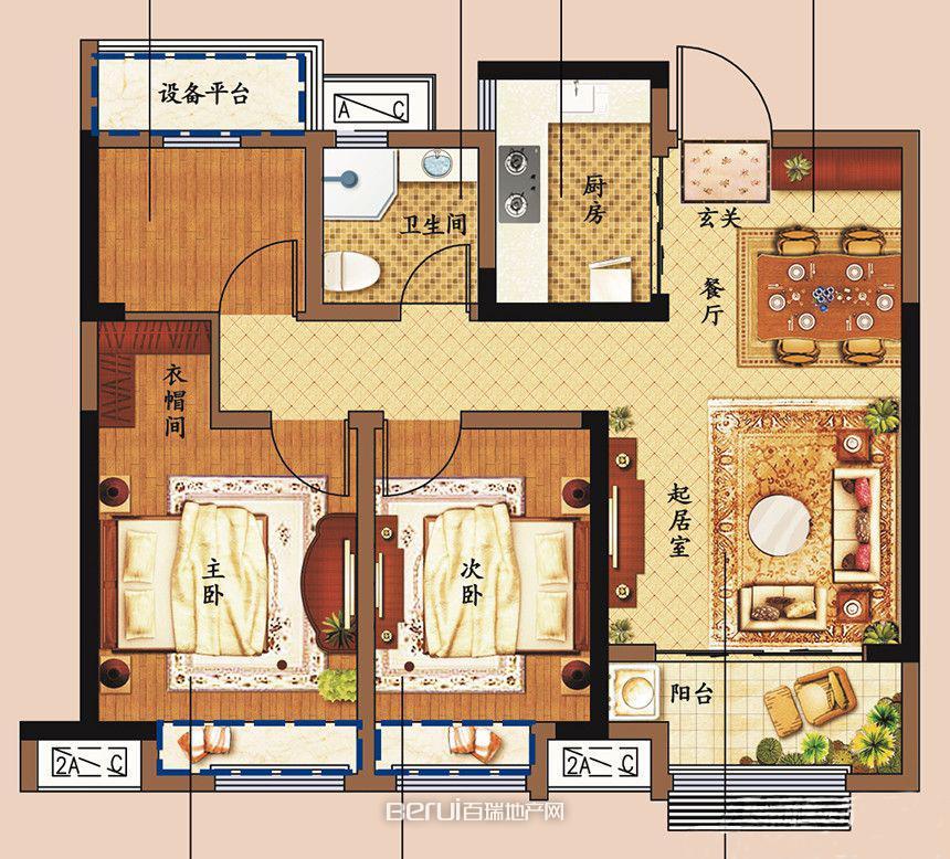 3室2厅1卫89㎡