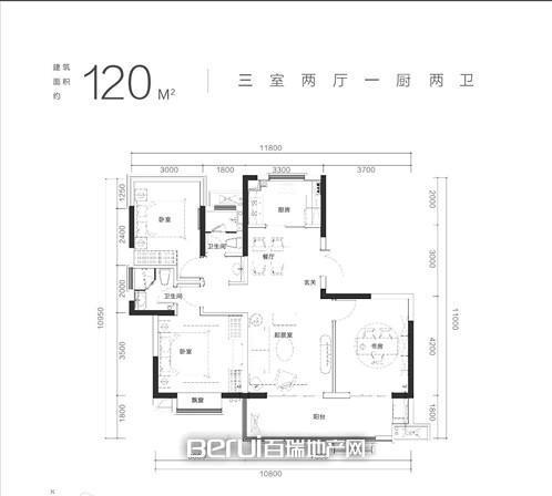 3室2厅2卫120㎡