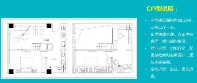 3室2厅1卫68.29㎡