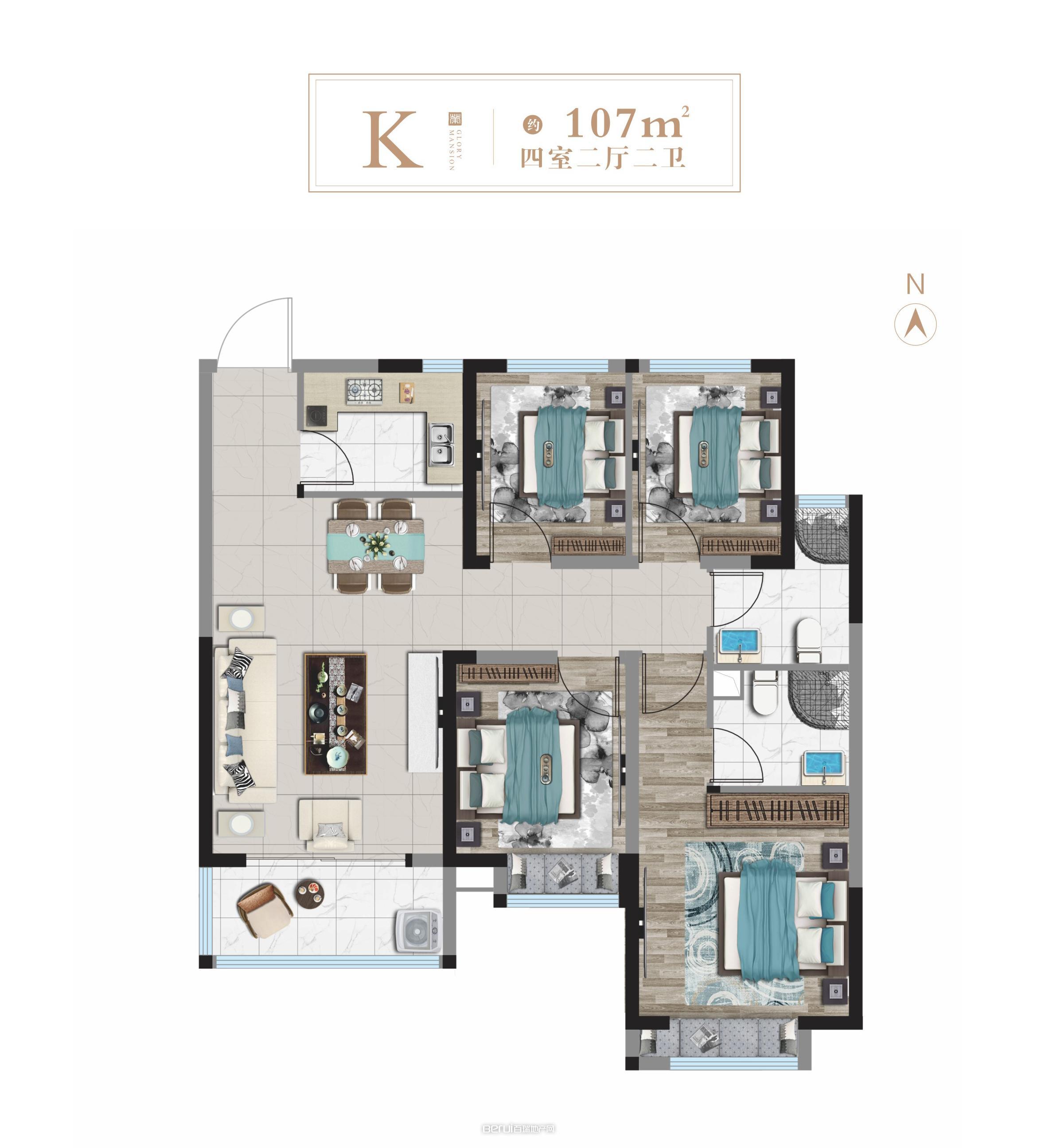 K户型107㎡户型图