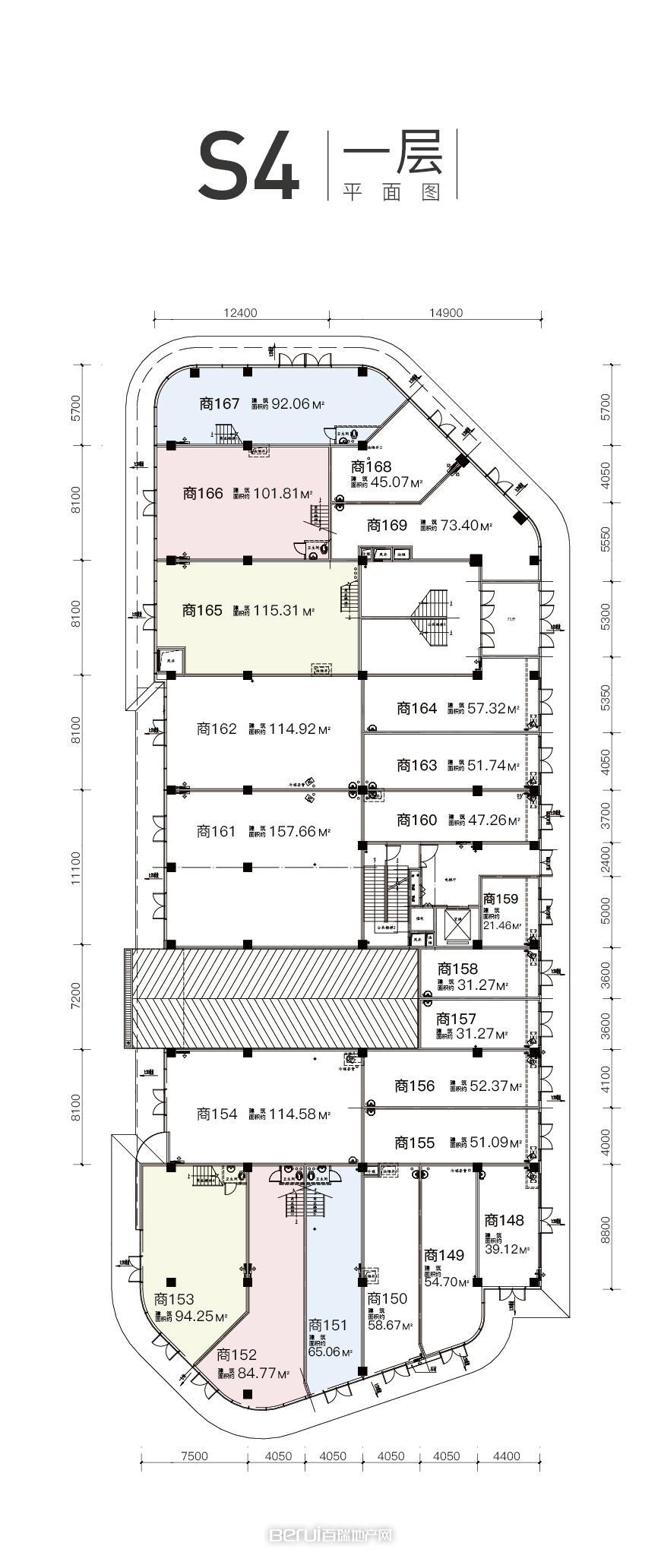 公园天下商铺s4一层户型图