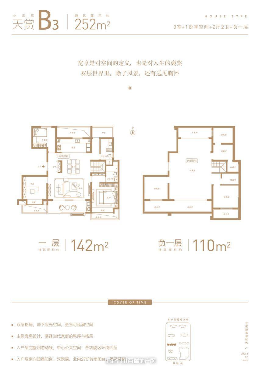 翡翠天际B2-252㎡小高层户型图