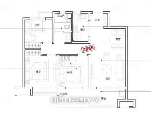 3室2厅1卫100㎡