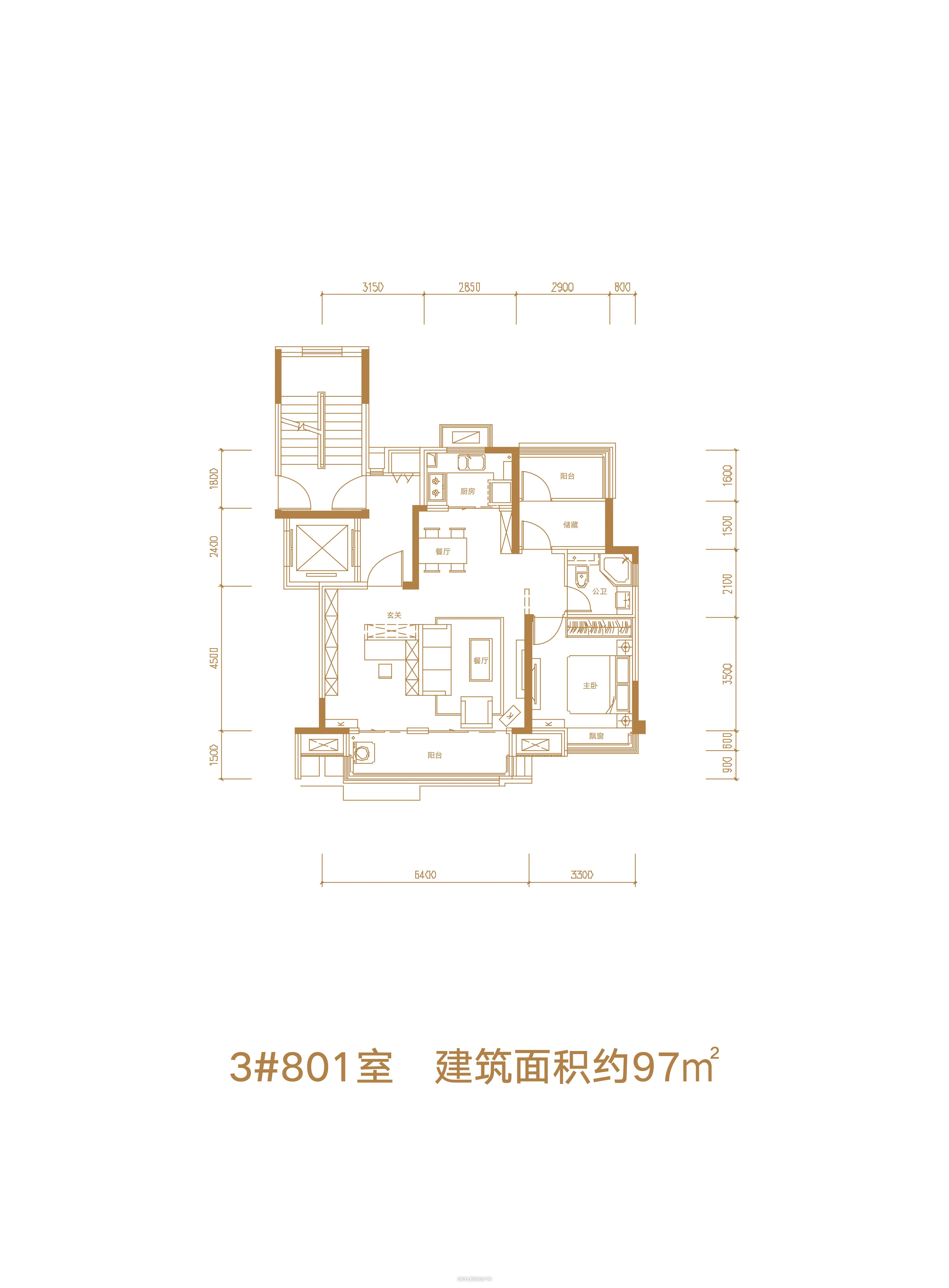 3#801室户型图 97㎡