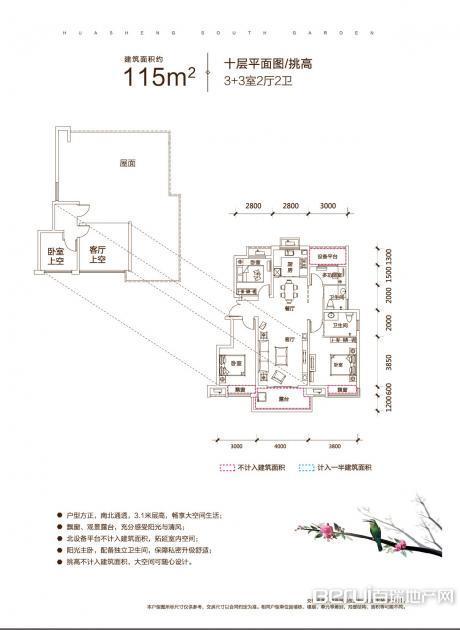 华盛南院洋房建筑面积约为115㎡十层户型图 21/25