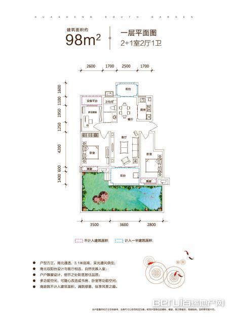 华盛南院洋房建筑面积约为98㎡一层户型图 17/25