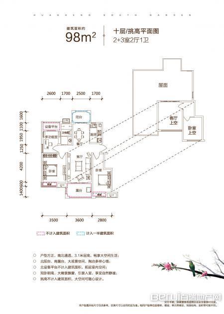 华盛南院洋房建筑面积约为98㎡十层/挑高户型图 14/25