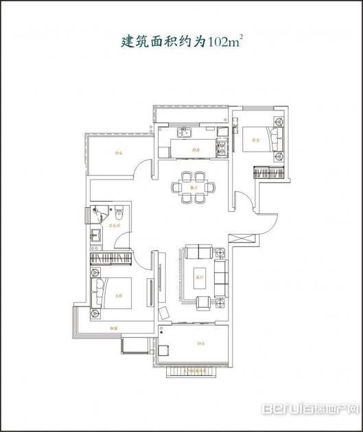 2室2厅1卫102㎡