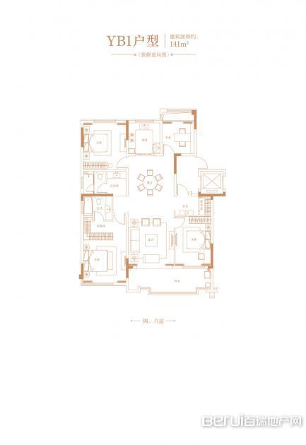 高速时代公馆YB1-141㎡户型图