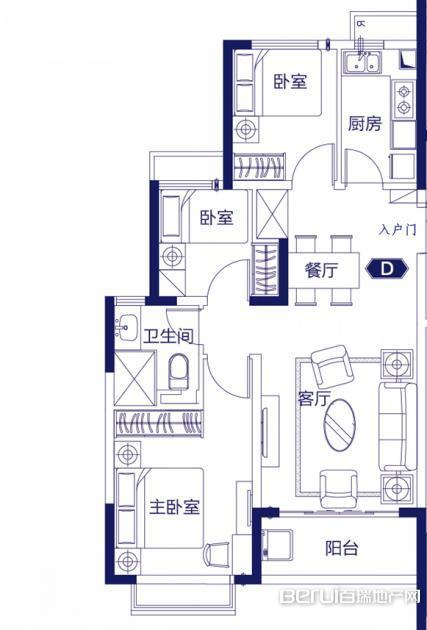 3室2厅1卫92㎡