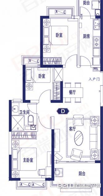 3室2厅1卫106㎡