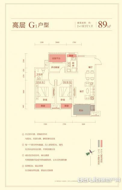 华盛南院高层建筑面积89㎡G3户型图 9/25