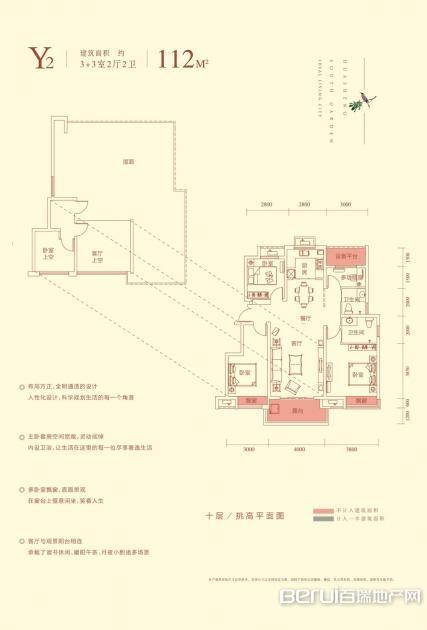 华盛南院洋房建筑面积112㎡Y2户型图 7/25