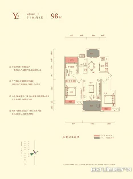 华盛南院洋房建筑面积98㎡Y3户型图 4/25