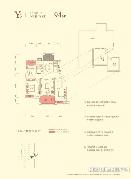 华盛南院洋房建筑面积94㎡Y3户型图 3/25