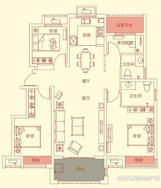 华盛南院洋房115㎡户型图