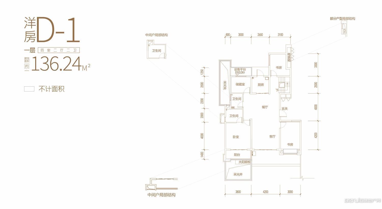 蓝光公园1号洋房D-1一层户型图