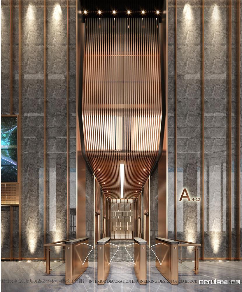恒大中心518商务体首层电梯厅效果图