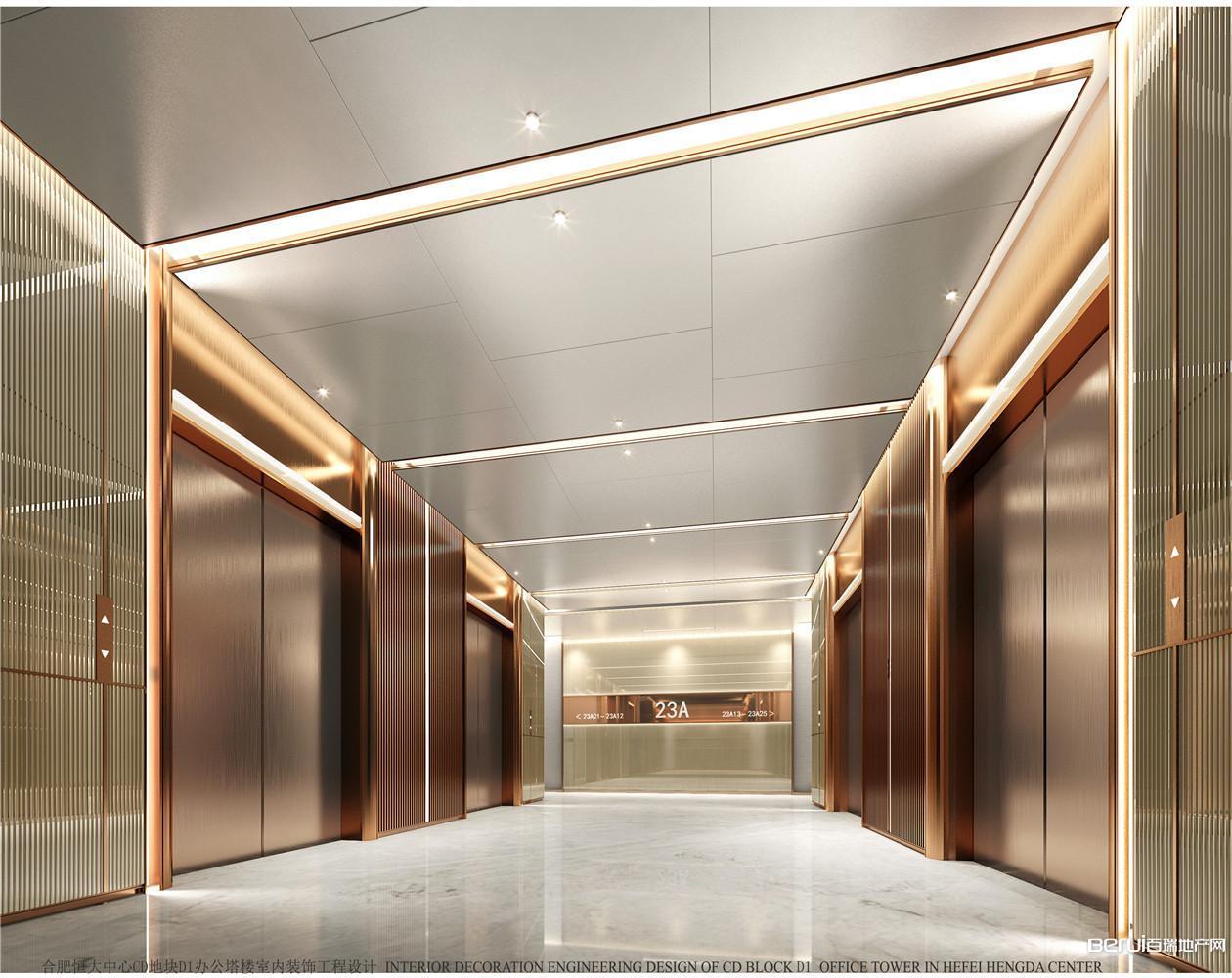 恒大中心518商务体办公室电梯厅效果图