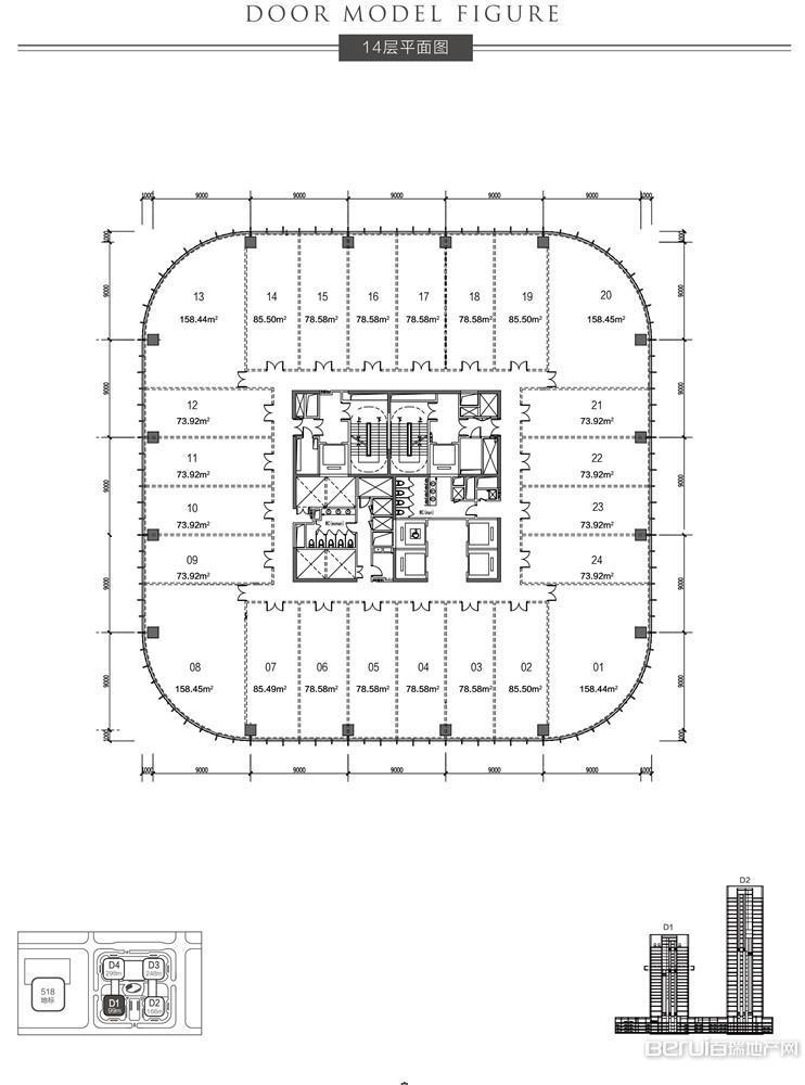 恒大中心518商务体14层平面图