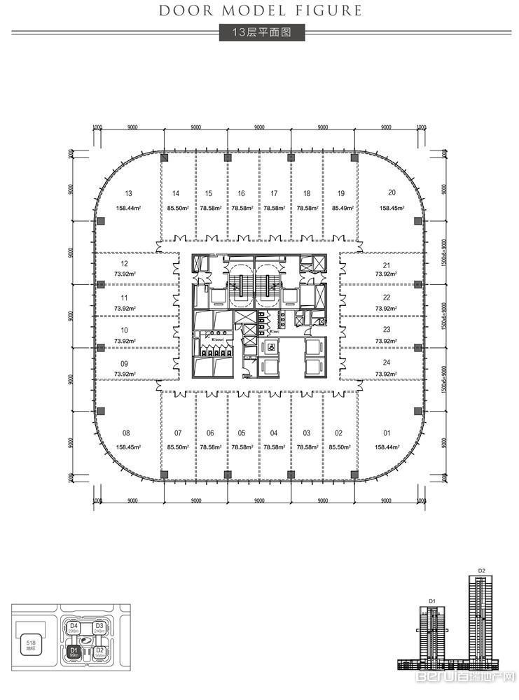 恒大中心518商务体13层平面图