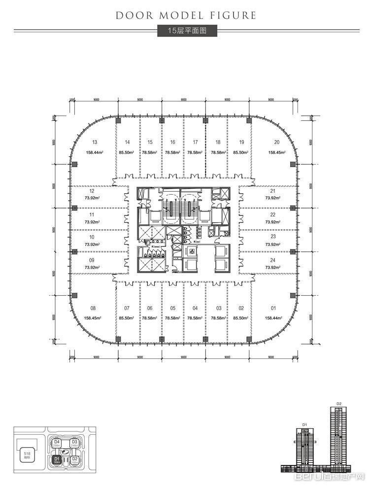 恒大中心518商务体15层平面图