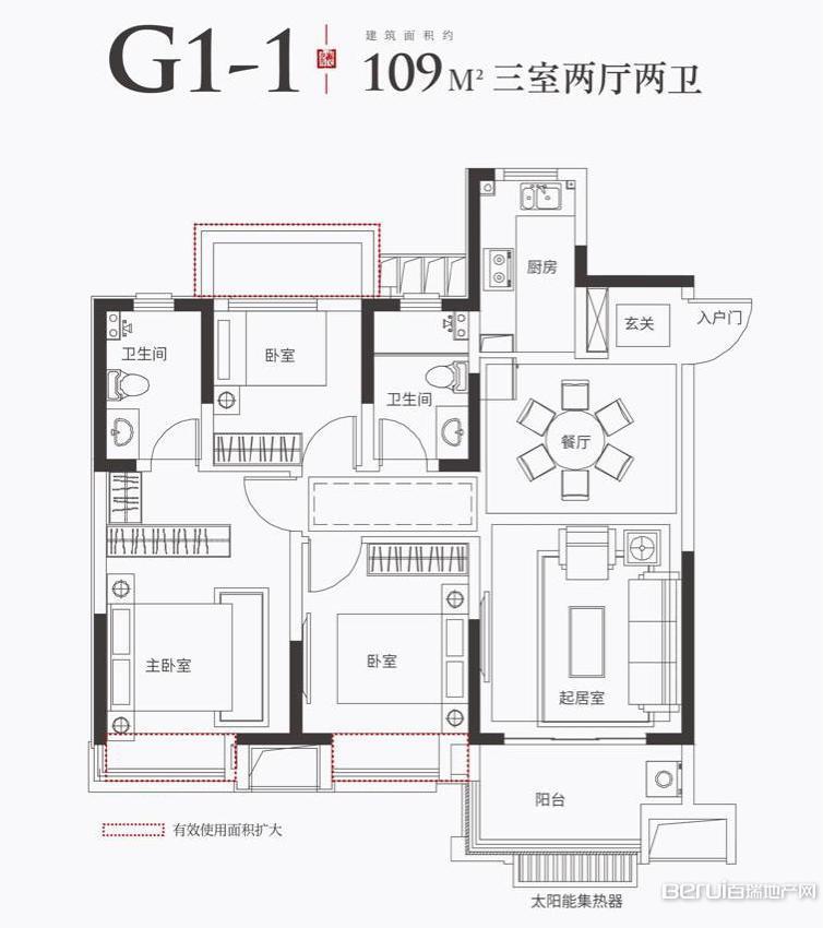金科海昱东方G1-1户型109㎡