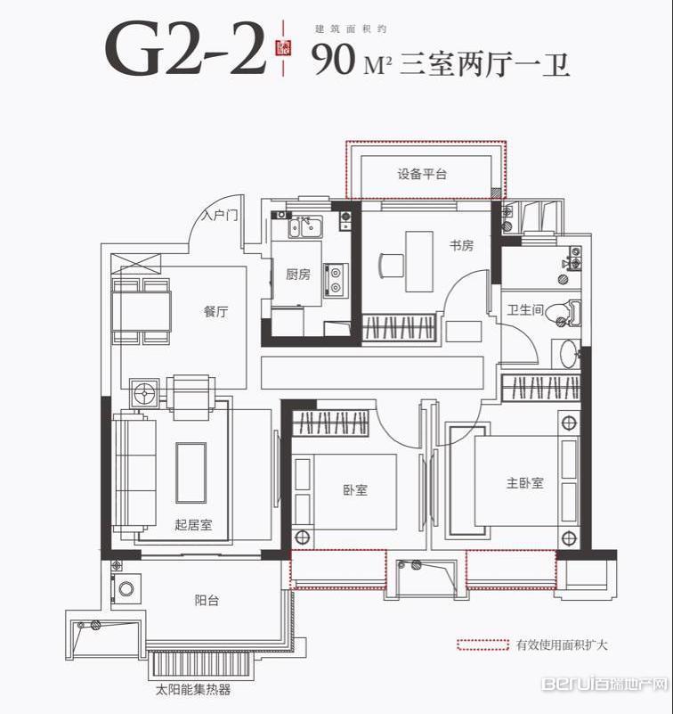 金科海昱东方G2-2户型90㎡