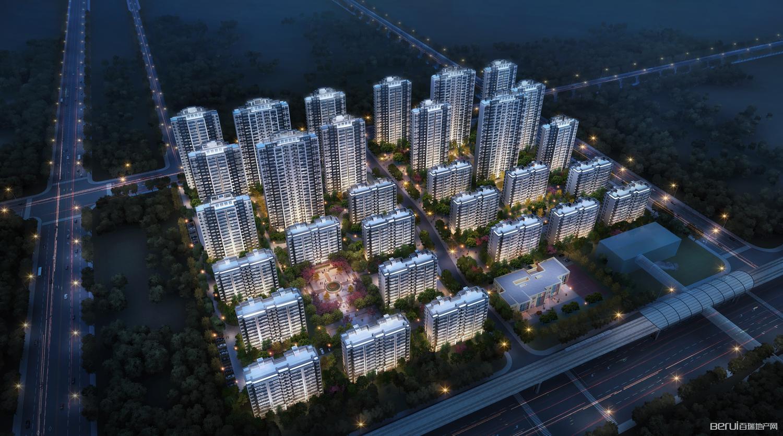 保利罗兰香谷夜景鸟瞰图