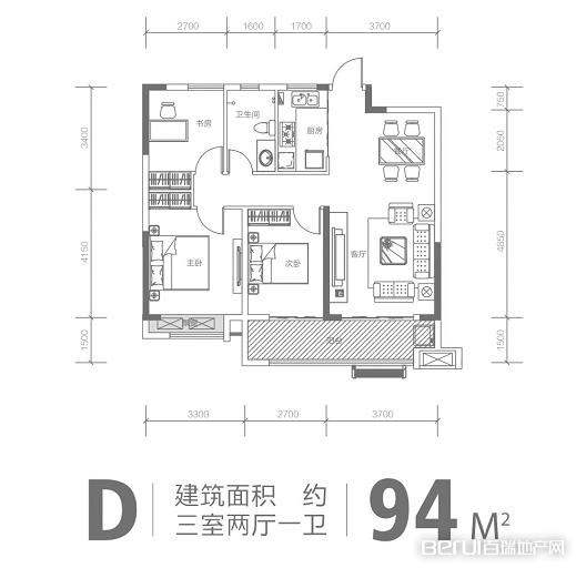 力高·澜湖前城三室两厅一卫户型图