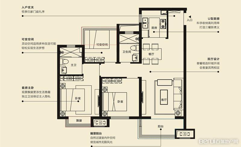 中海城98平米户型
