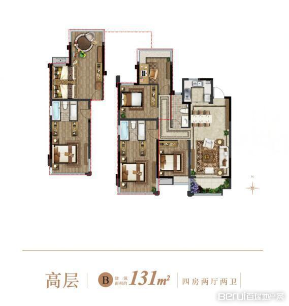 4室2厅2卫131㎡