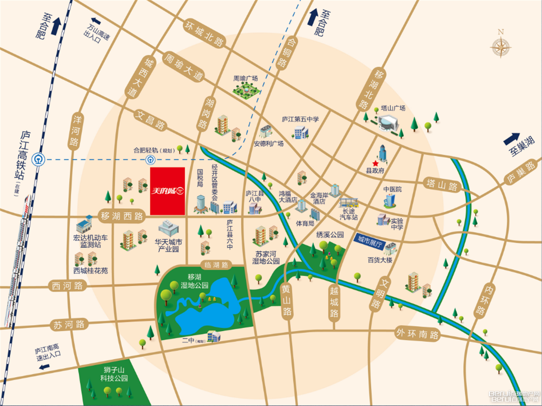 庐江美的城交通图