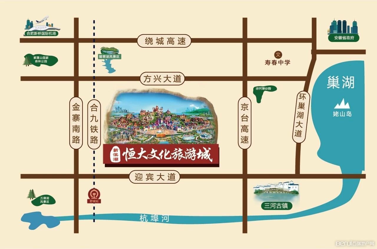 新滨湖恒大文化旅游城交通图