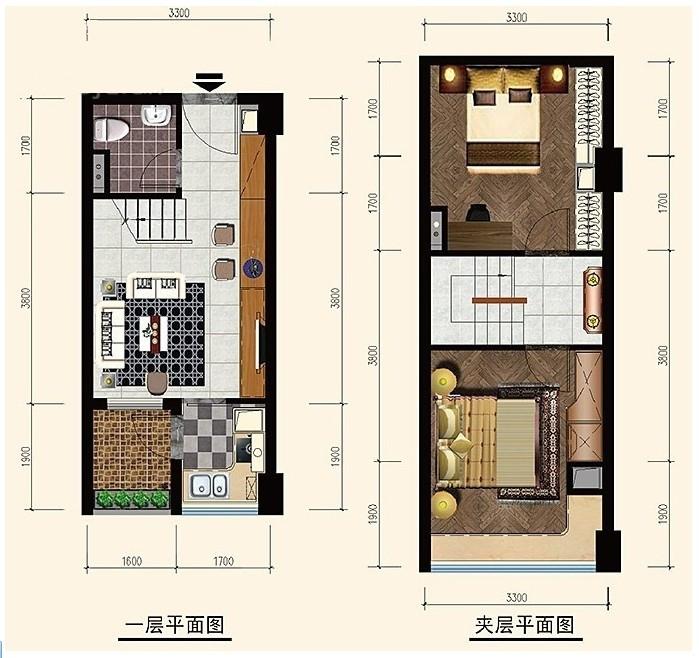 合肥松芝万象城2室1厅1卫30平米户型图-松芝万象城
