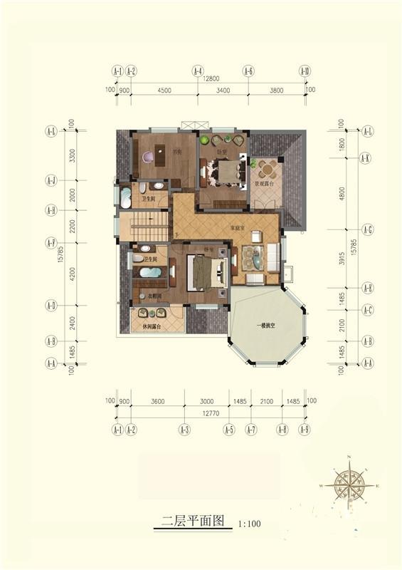 翡翠花园芳岛别墅e2二层户型