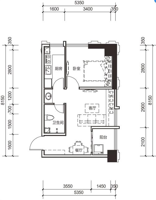 1室2厅1卫55㎡