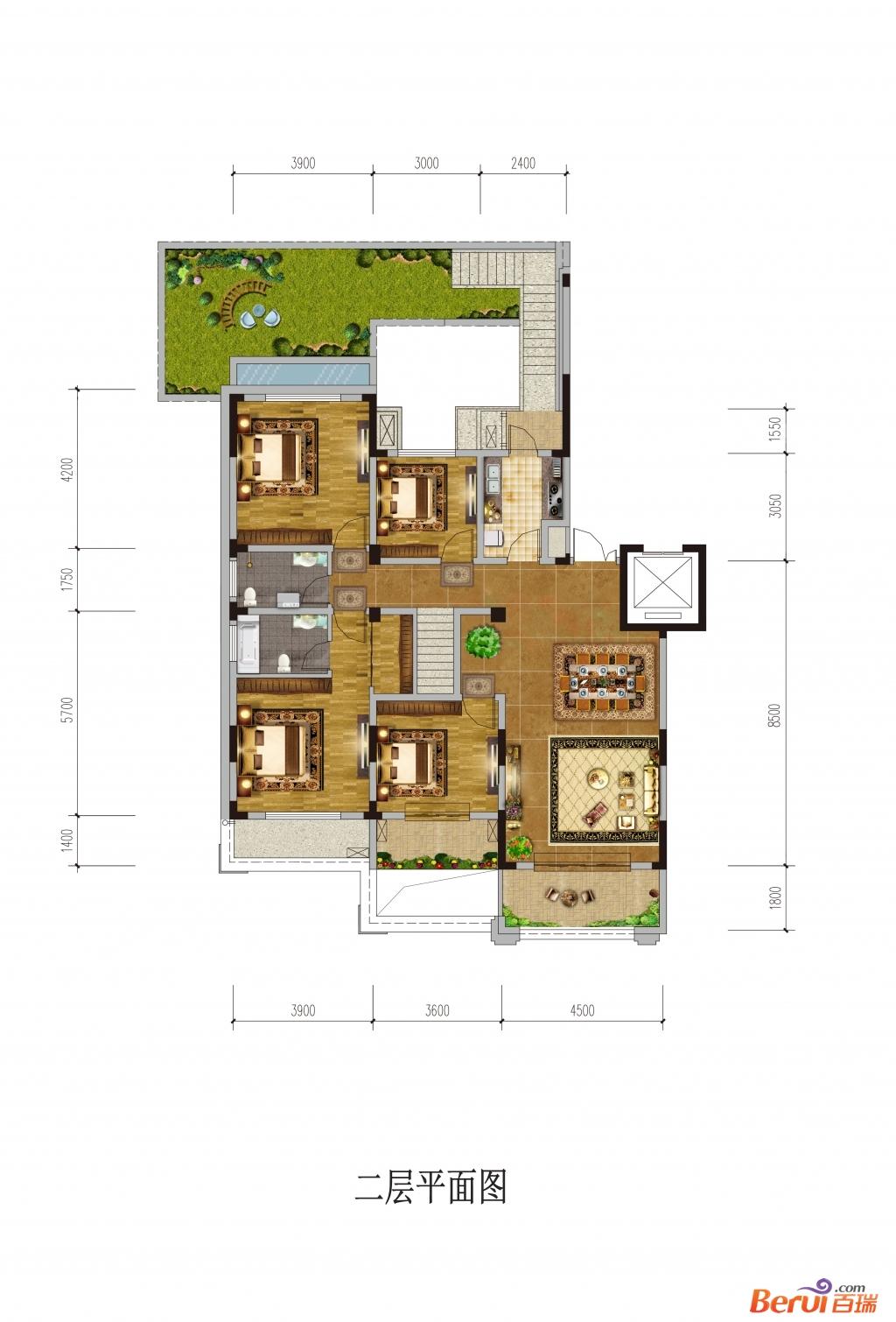 悦湖山院2层平面(洋房)