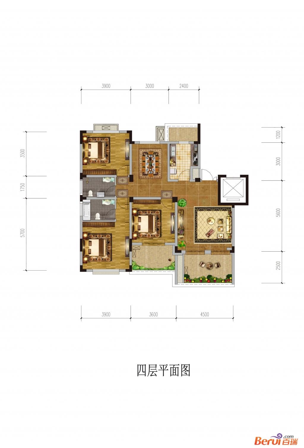 悦湖山院4层平面(洋房)