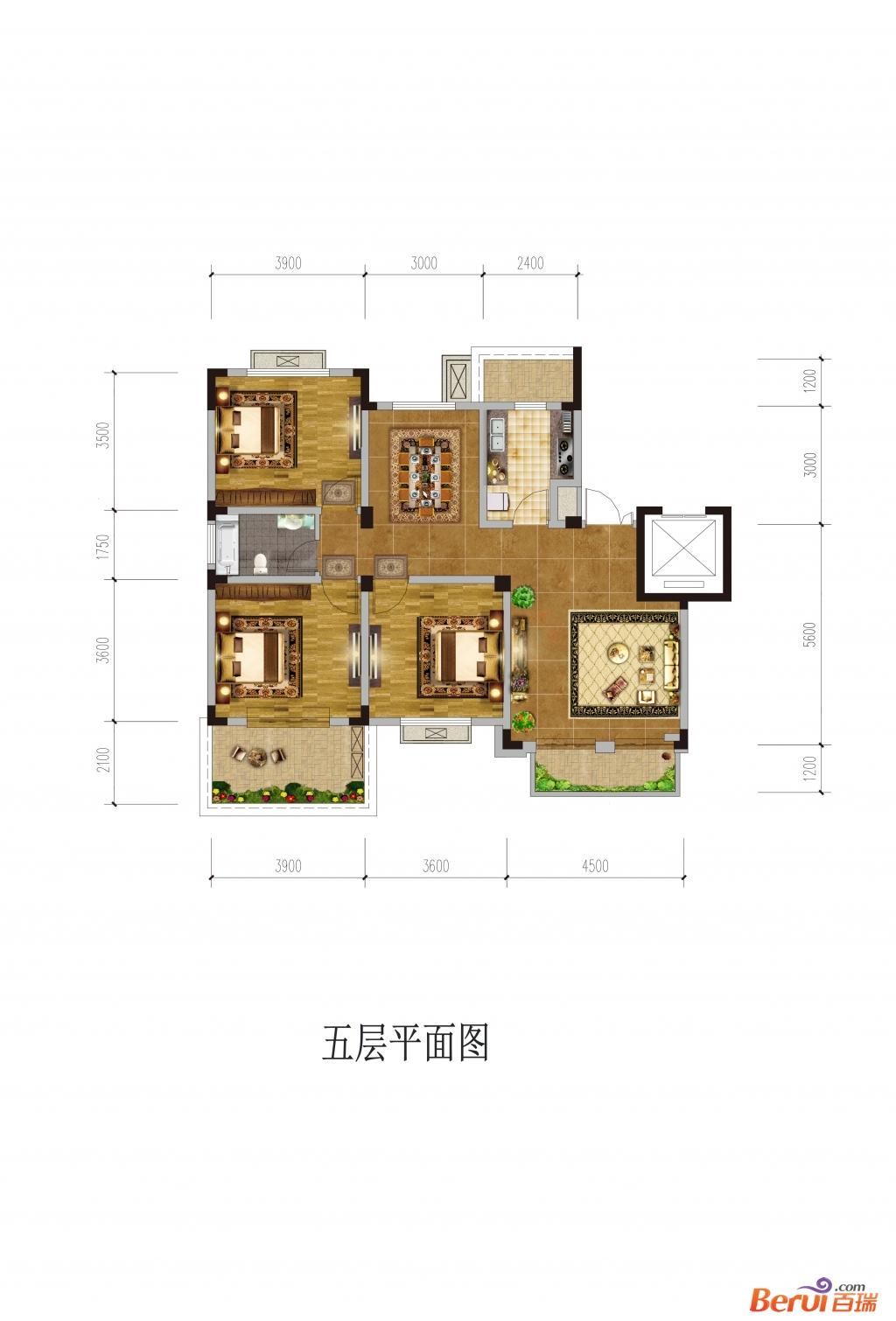 悦湖山院5层平面(洋房)
