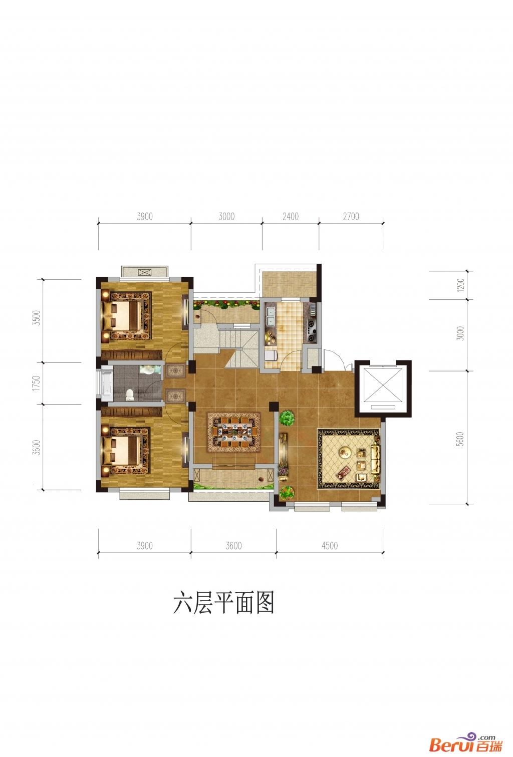 悦湖山院6层平面(洋房)