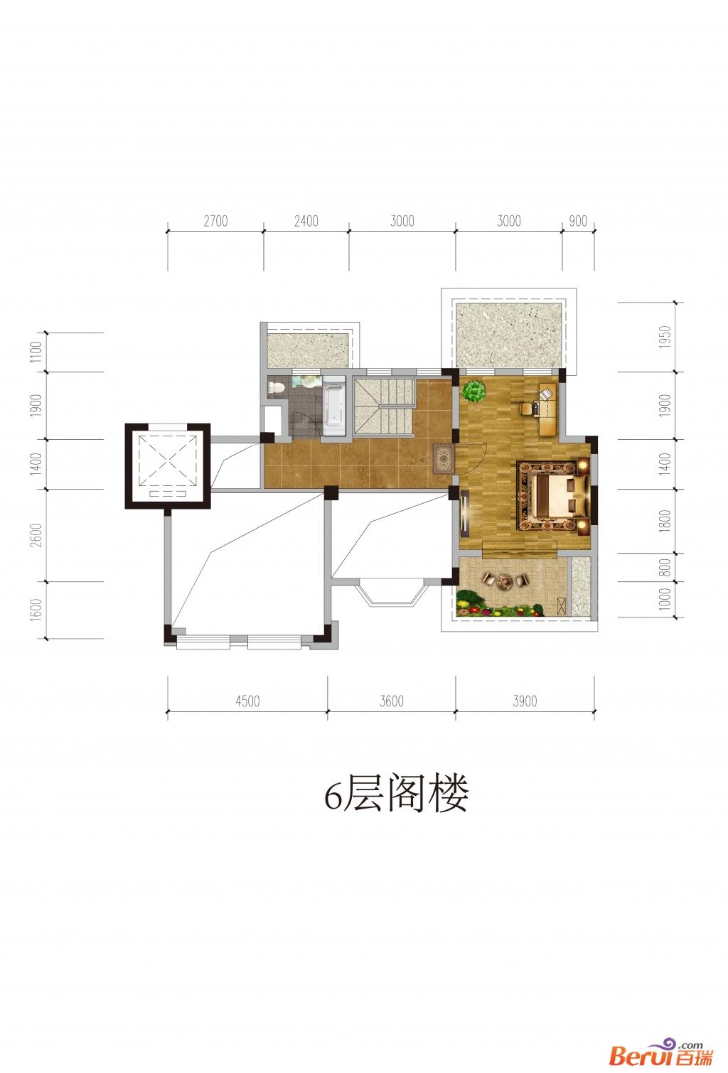 悦湖山院6层阁楼(洋房)