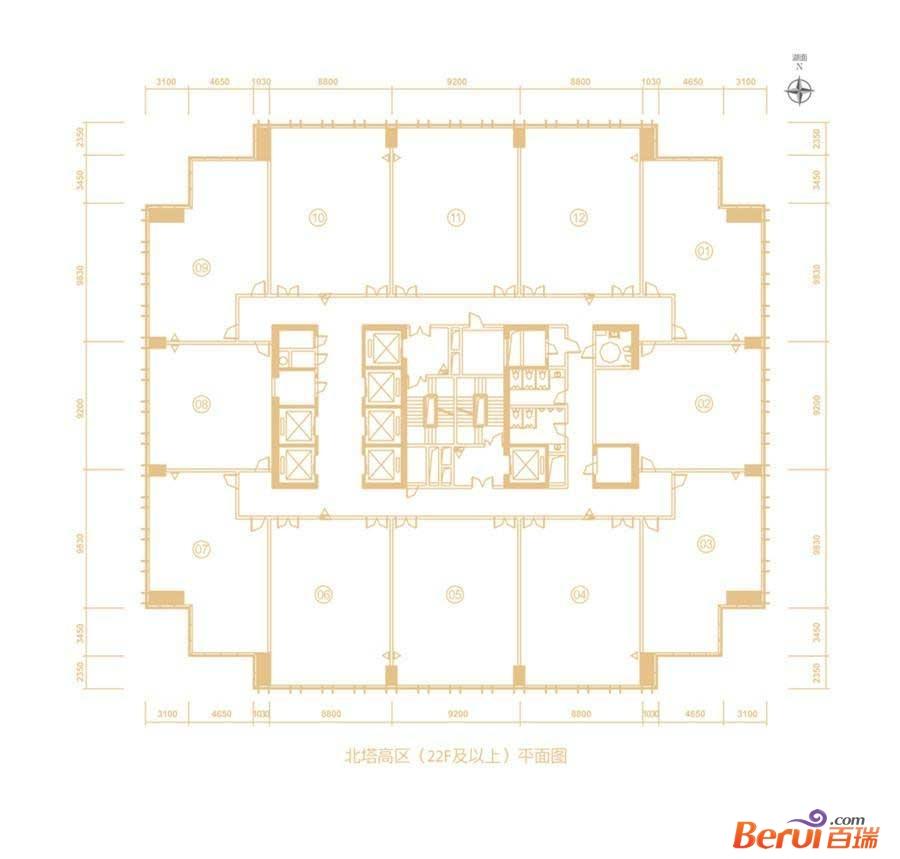 百利广场北塔22层以上平面图